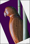 Wood Sculpture Posters - Darth Parrot Poster by Walt Foegelle