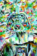 Jedi Painting Posters - Darth Vader Watercolor Portrait.2 Poster by Fabrizio Cassetta