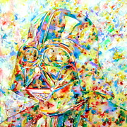 Jedi Painting Posters - Darth Vader Watercolor Portrait.3 Poster by Fabrizio Cassetta