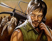 Walking Dead Paintings - Daryl by Al  Molina