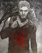 Obey Paintings - Daryl Dixon black and white version by Bobby Zeik