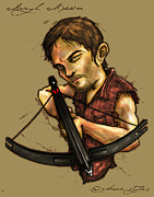 The Walking Dead Prints - Daryl Dixon of The Walking Dead Print by Chuck  Styles