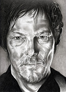 Living Drawings Posters - Daryl Dixon - The Walking Dead Poster by Fred Larucci