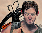 Walking Dead Paintings - Daryl Dixon by Tom Carlton