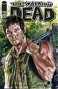 Television Paintings - Daryl Walking Dead by Ken Meyer jr