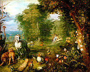Wooded Digital Art Framed Prints - Das Paradies Framed Print by Jan Bruegel