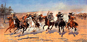 Cowboys Digital Art Metal Prints - Dash For The Timber Metal Print by Frederic Remington