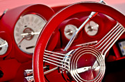 Red Street Rod Photos - Dashboard Red Classic Car by Carolyn Marshall