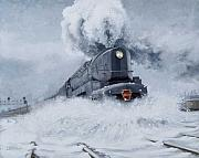 Railroad Metal Prints - Dashing Through the Snow Metal Print by David Mittner