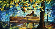 Original Fall Landscape Paintings - Date on the Bench by Leonid Afremov