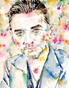 Dave Painting Prints - DAVE GAHAN - watercolor portrait Print by Fabrizio Cassetta