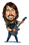 Laughing Painting Prints - Dave Grohl Print by Art
