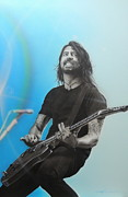 Musician Framed Paintings - Dave Grohl by Christian Chapman Art