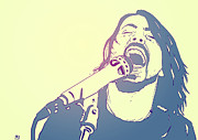 Star Drawings Metal Prints - Dave Grohl Metal Print by Giuseppe Cristiano
