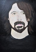 Fighters Mixed Media Prints - Dave Grohl portrait Print by Paula Sharlea