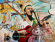 Band Painting Posters - Dave Matthews Shotgun Poster by Joshua Morton
