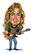 Caricature Painting Framed Prints - Dave Mustaine Framed Print by Art