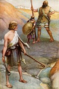 Bible. Biblical Framed Prints - David and Goliath Framed Print by Arthur A Dixon