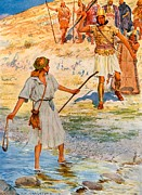Fight Drawings Posters - David and Goliath Poster by William Henry Margetson