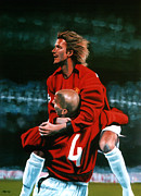 Madrid Framed Prints - David Beckham and Juan Sebastian Veron Framed Print by Paul  Meijering