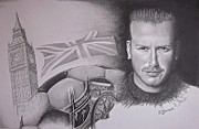 Soccer Drawings Prints - David Beckham Print by Geni Gorani