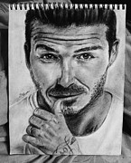Soccer Drawings Originals - David Beckham by Sarah Mclaughlan