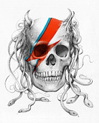 Pencil Mixed Media Posters - David Bowie Aladdin Sane Medusa Skull Poster by Olga Shvartsur