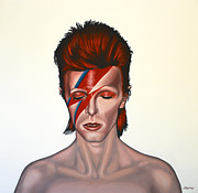 Rock Star Art Paintings - David Bowie Aladdin Sane by Paul  Meijering
