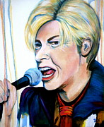 Microphone Painting Framed Prints - David Bowie Framed Print by Debi Pople