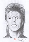 David Bowie Drawings - David Bowie by Eliza Lo