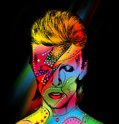 Rock Stars Posters - David Bowie Poster by Mark Ashkenazi