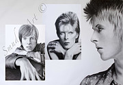 David Bowie Drawings - David Bowie Triptych by Smudge Art