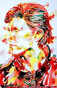 David Bowie Posters - David Bowie Watercolor Portrait.1 Poster by Fabrizio Cassetta