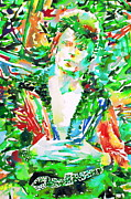 David Bowie Portrait Paintings - David Bowie Watercolor Portrait.2 by Fabrizio Cassetta