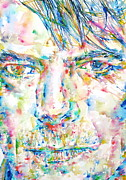 David Bowie Portrait Paintings - David Bowie Watercolor Portrait.4 by Fabrizio Cassetta