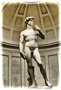 Renaissance Sculpture Framed Prints - David by Michelangelo Framed Print by Jon Berghoff