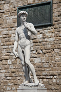 Historic Statue Posters - David by Michelangelo Poster by Melany Sarafis
