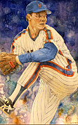 Baseball Drawings Posters - David Cone Poster by Michael  Pattison