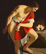 David And Goliath Paintings - David Contemplating the Head of Goliath by Orazio Gentileschi