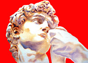 Michelangelo Drawings Posters - DAVID FACE by Michelangelo   red Poster by Juan Jose Espinoza