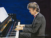 Piano Player Prints - David Foster Symphony Sessions Portrait Print by David Lloyd Glover
