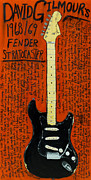 Guitars Paintings - David Gilmour Black Stratocaster by Karl Haglund