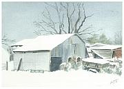 Old Barns Paintings - David Hoyles Shed by Joel Deutsch