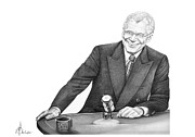 Tv Show Drawings Framed Prints - David Letterman Framed Print by Murphy Elliott