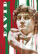 Skylines Mixed Media Metal Prints - David - Michelangelo - Stylised modern drawing art sketch  Metal Print by Kim Wang