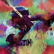 Red Sox Art Digital Art Posters - David Ortiz Abstract Poster by David G Paul