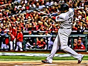 Boston Red Sox Canvas Posters - David Ortiz Painting Poster by Florian Rodarte