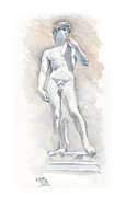 Statue Portrait Paintings - David Sculpture by Michelangelo by Maddy Swan