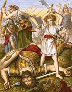 Bible. Biblical Drawings Prints - David Slaying Goliath Print by English School