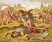 Mythology Drawings - David Slaying the Giant Goliath by English School